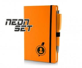 Kugelschreiber Set Notizbuch A5 neonorange
