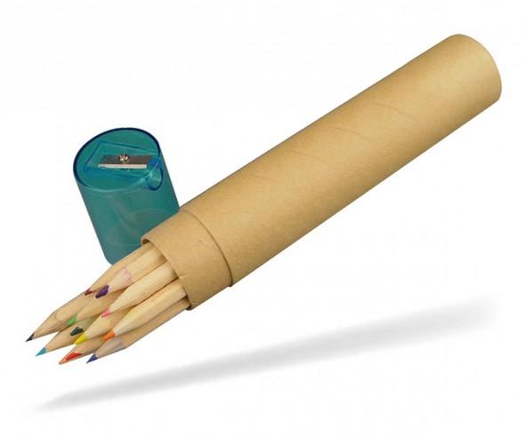Buntstifte Set mit 12 Stiften im Papprohr und Spitzer im Deckel