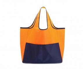 Faltbare Einkaufstasche aus Polyester Falttasche mit Logo bedrucken orange blau