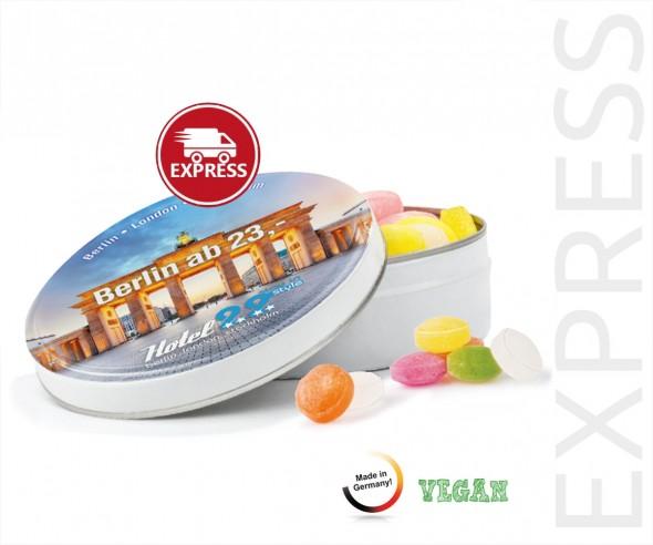 EXPRESS Bonbondose Midi Werbeartikel bedrucken Fruchtmix 65g 3 Arbeitstage