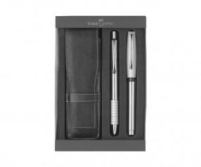 Faber-Castell Essentio Schreib-SET Werbegeschenk Kugelschreiber + Füller Metall inkl. Gravur