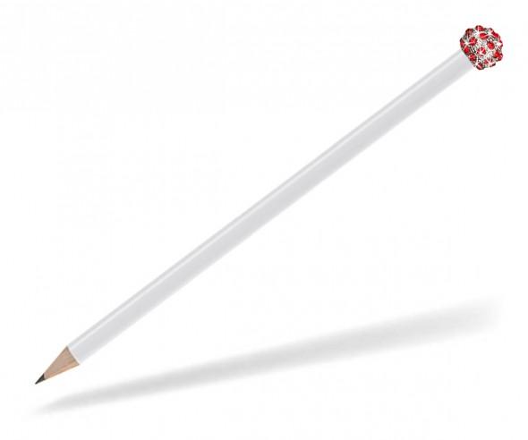 Reidinger Glamour Bleistift weiss Glitzerkugel silber rot