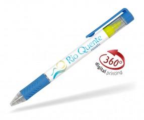 Goldstar Bergman PDE mit Textmarker 360 Grad Rundumdruck Kugelschreiber Pantone 2143 Blau