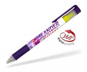 Goldstar Bergman PDE mit Textmarker 360 Grad Rundumdruck Kugelschreiber Pantone 269 Violett