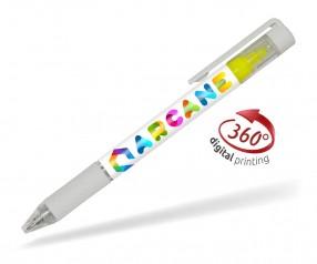 Goldstar Bergman PDE mit Textmarker 360 Grad Rundumdruck Kugelschreiber Pantone Weiß
