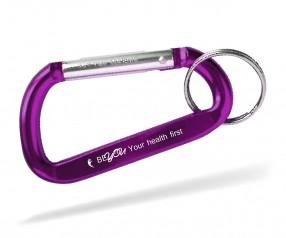 Goldstar EASTWOOD dca Karabiner mit Logo Schlüsselanhänger inkl Gravur violett Pantone 259