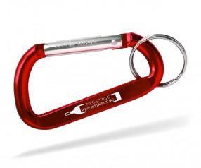 Karabiner Werbeartikel Schlüsselanhänger Goldstar EASTWOOD dca inkl Gravur rot Pantone 201