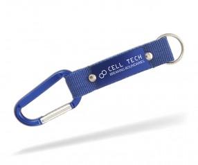 Karabiner Haken bedrucken Schlüsselanhänger Goldstar WILLIS lay inkl Gravur blau Pantone 2146
