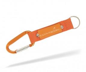 Karabinerhaken Werbeartikel Schlüsselanhänger Goldstar WILLIS lay inkl Gravur orange Pantone 021c