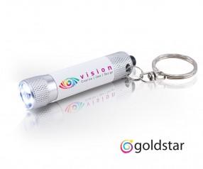 Goldstar McQueen Taschenlampe LED Schlüsselanhänger Werbegeschenk incl Inkjet Digitaldruck weiss