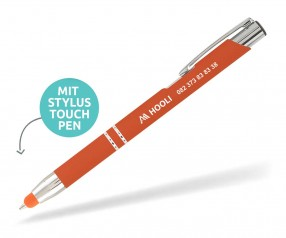 Goldstar Crosby LHU Soft Touch Kuli mit Touchpen incl Gravur Pantone 2026 orange