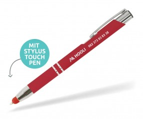 Goldstar Crosby LHU Soft Touch Kuli mit Touchpen incl Gravur Pantone 200 rot