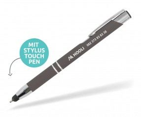 Goldstar Crosby LHU Soft Touch Kuli mit Touchpen incl Gravur Pantone 425 anthrazit