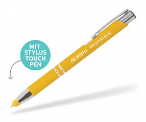 Goldstar Crosby LHU Soft Touch Kuli mit Touchpen incl Gravur Pantone 123 gelb