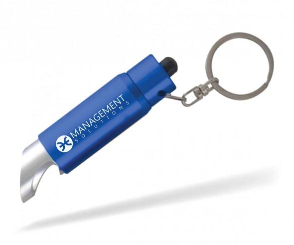 Schlüsselanhänger mit Lampe und Flaschenöffner Goldstar DUVALL lyv inkl Gravur blau