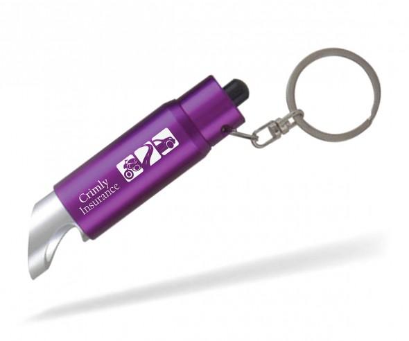 Schlüsselanhänger mit Lampe und Flaschenöffner Goldstar DUVALL lyv inkl Gravur violett