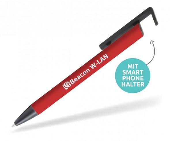 Goldstar Cline MKM Softtouch Kugelschreiber mit Smartphone Halter rot