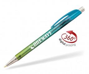 Goldstar Le Beau Ombre Kugelschreiber PWH inkl 360 Grad Druck Pantone 7703 Aqua Blau