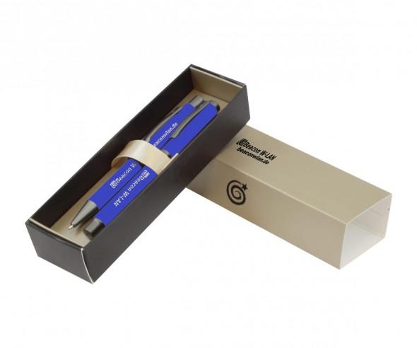 Goldstar Bowie Stardust dvz Softtouch Kugelschreiber & Tintenroller Set INCLUSIVE GRAVUR blau