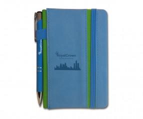 Goldstar Wilde Notizbuch A6 SET NFF mit Kugelschreiber inkl. Lasergravur - blau Pantone 7690