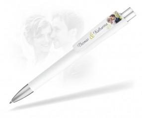 Kugelschreiber für Hochzeit bedruckt mit Namen weiss