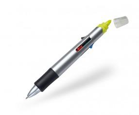 Multi-Pen 5 in 1 Kugelschreiber mit 4 Minen und Textmarker gelb