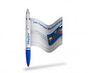 Info Pen 1101 Classic Kuli incl. 4c Druck auf ausziehbarer Flagge, KLAR blau
