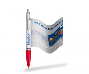 Info Pen 1101 Classic Kuli incl. 4c Druck auf ausziehbarer Flagge, KLAR rot