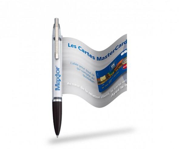 Info Pen 1101 Classic Kuli incl. 4c Druck auf ausziehbarer Flagge, KLAR schwarz