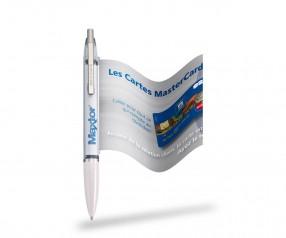 Info Pen 1101 Classic Kuli incl. 4c Druck auf ausziehbarer Flagge, KLAR weiss