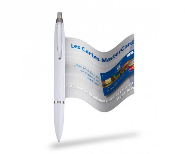 Info Pen 1101 Classic Kugelschreiber incl. 4c Druck auf Werbefahne, weiss