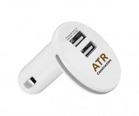 USB KFZ Doppel Adapter Werbegeschenk weiss grau