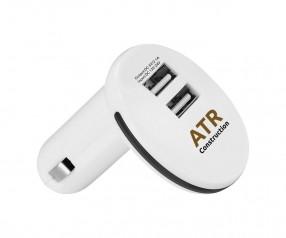 Doppel USB KFZ Adapter Werbeartikel weiss schwarz