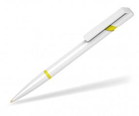 Klio Kugelschreiber EURO R U R weiss gelb