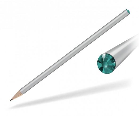 Reidinger Kristall Bleistift mit Werbedruck silber blue zircon