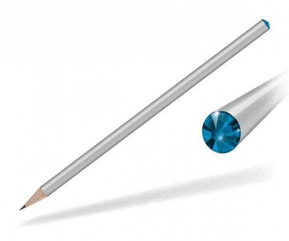 Reidinger Kristall Bleistift mit Werbedruck silber capri blue