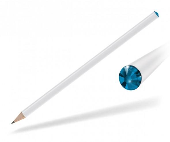 Reidinger Kristall Bleistift Promotionartikel weiss capri blue