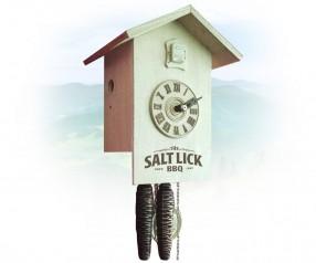 Kuckucksuhr Werbeartikel im Retro Design mit Logo bedruckt