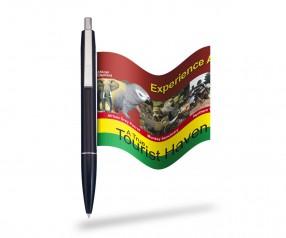 Werbeband-Kugelschreiber Info-Pen 1103 Regular mit ausrollbarer Werbefahne, SCHWARZ