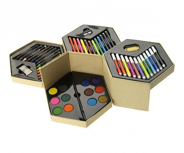 malset 52 teilig mit verschiedenen buntstiften und farben. Black Bedroom Furniture Sets. Home Design Ideas