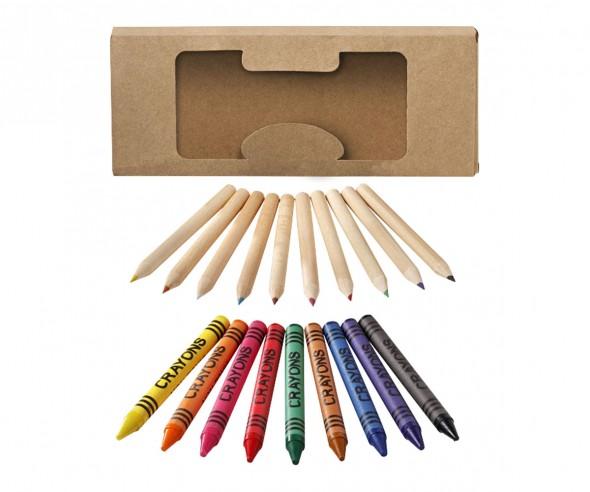 Wachsmalstifte und Buntstifte Set 19-teilig als Werbeartikel