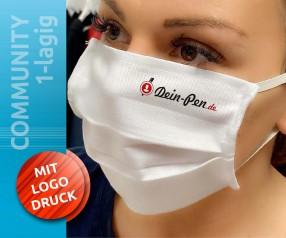 Behelfsmasken bedrucken Communitymaske mit Logo - 1lagig weiss + farbig