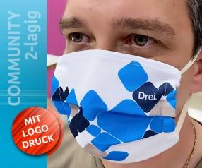 Community Masken mit ganzflächigem Druck ihres Logos 2-lagig weiss und farbig