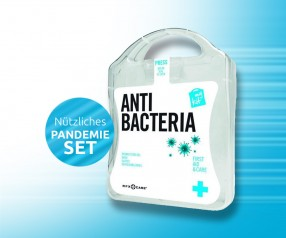 Pandemie Set: MyKit Anti-Bacteria Werbeartikel Handschuhe, Mundschutz und Desinfektion