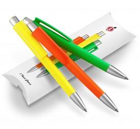 Kugelschreiber Set Neon als Geschenk: 3 Kulis in Neonfarben, burger swiss pen