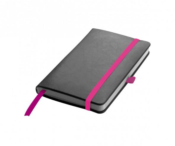 Notizbuch Werbeartikel DIN A6 STANDARD schwarz pink
