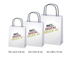 Papiertasche, Werbetasche, Einkaufstasche bedrucken weiss mit Papierkordeln Kordelfarbe wählbar