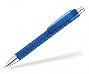 quatron FASHION transparent - modischer Kuli mit Textil-Stoffgewebe 82510 Pantone 280 blau