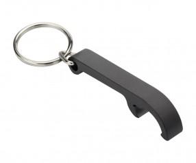 Schlüsselanhänger mit Flaschenöffner REFLECTS-NARÓN BLACK Werbemittel schwarz