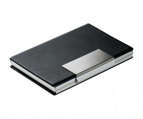 Visitenkartenbox REFLECTS-VALONGO Werbeartikel schwarz, silber